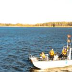 Forscher auf Boot